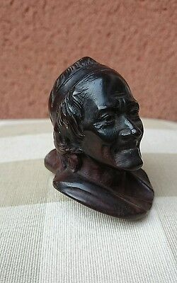 Early 20th Carved Wooden Pipe Bowl Voltaire French Historian