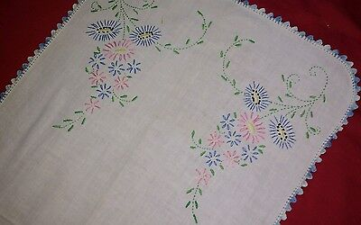 Floral Embroidered Linen Dresser Scarf 31x15 inches