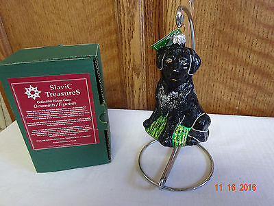 Slavic Treasures Black Lab-Full Body Ornament 02-581 With Box And Tag