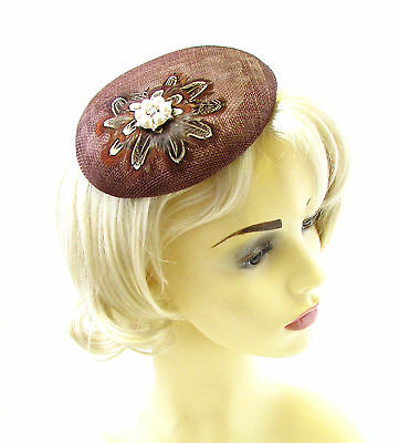 Brown Pheasant Feather Fascinator Pillbox Hat Ivory 1940s Races Hair Clip 1251