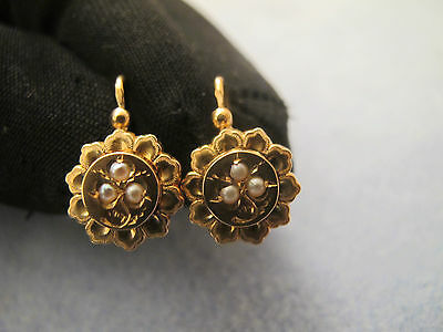 French antique 18ct gold pearl dormeuses earrings circa-1820