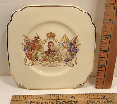 1937 Empire Porcelain Co Ltd Small Souvenir Plate Coronation King Edward Viii