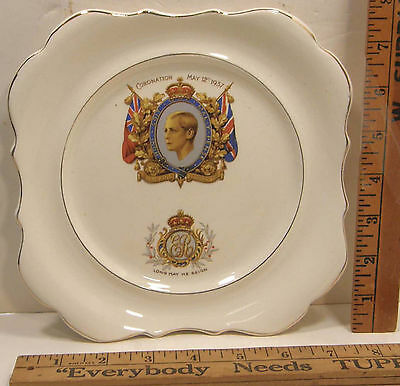 1937 Lancaster & Sons Ltd Pottery Plate Coronation King Edward Viii Duke Windsor