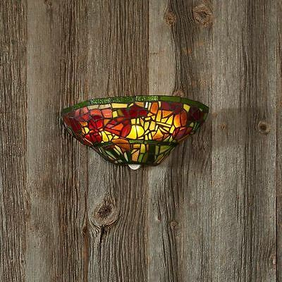 Stained Glass Half Moon Sconce with Roses - indoor only