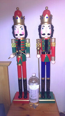 Giant 3 Feet Tall (92Cm) Wooden Christmas Prince Nutcracker  With Drum New