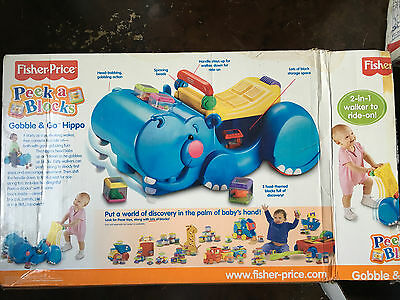 Fisher Price Peek a Blocks Gobble & Go Hippo Ride-on/Walker for toddlers