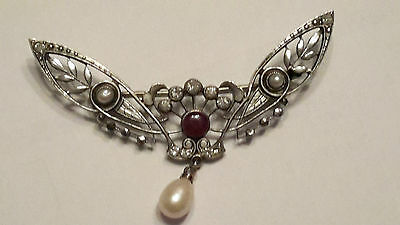 Beautiful French Art Nouveau Silver Tone Paste and Marcasite Brooch In Box