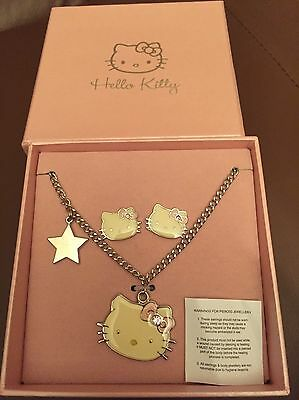 Hello Kitty Necklace & Earring Set In Gift Box Brand New