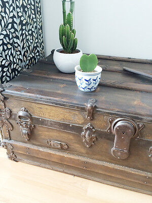 antique trunk- chest steamer- pirate chest- coffee table