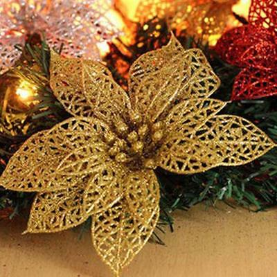 Gold Christmas Flower Xmas Tree Decoration Glitter Hollow Wedding Party Decor FT