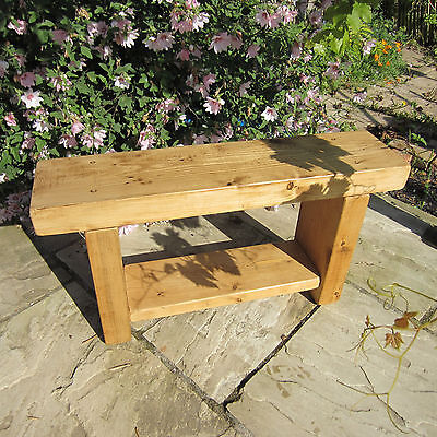 Chunky Rustic Pine Solid Wood Bench Handmade Dining Chair Seat with Shelf