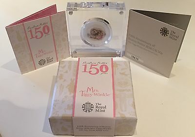 Beatrix Potter Mrs Tiggy-Winkle 50p Silver Proof Coin Royal Mint