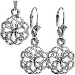 Sterling Silver Celtic Knot Earrings & Pendant Set with 24 inch chain
