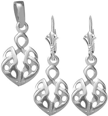 Sterling Silver Celtic Earrings & Pendant Set with chain