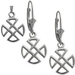 Sterling Silver Celtic 4 Trinity Earrings & Pendant Set with chain