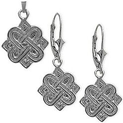 Sterling Silver Celtic 4 Point Knot Earrings & Pendant Set with chain