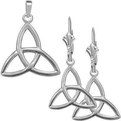 Sterling Silver Celtic Trinity Knot Earrings & Pendant Set with 22 inch chain