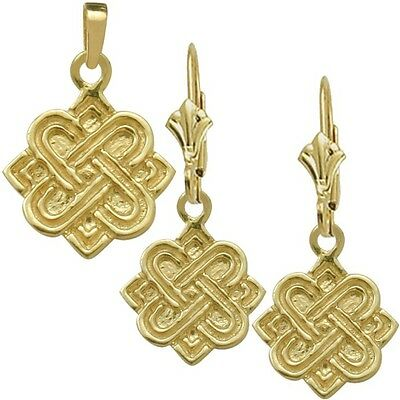 10 Karat Yellow Gold Celtic 4 Point Knot Earrings & Pendant Set with chain