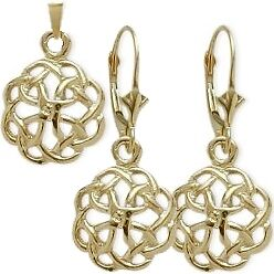 10 Karat Yellow Gold Celtic Knot Earrings & Pendant Set with chain