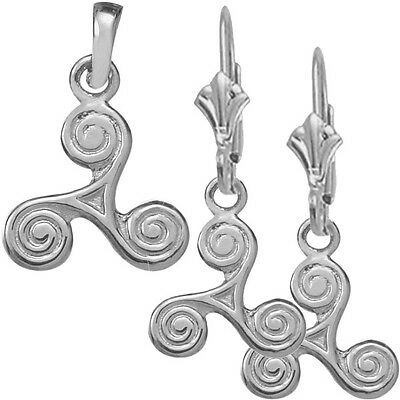 Sterling Silver Celtic Triskele Earrings & Pendant Set with chain