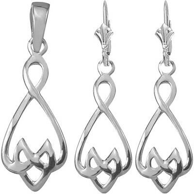 Sterling Silver Celtic Earrings & Pendant Set with 24 inch chain