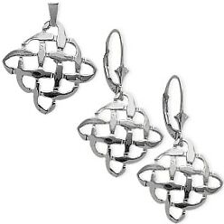 Sterling Silver Celtic Knot Earrings & Pendant Set with 22 inch chain