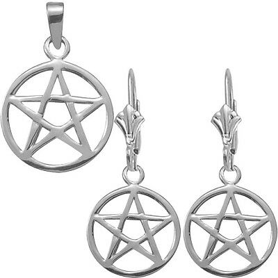 Sterling Silver Celtic Star Earrings & Pendant Set with chain