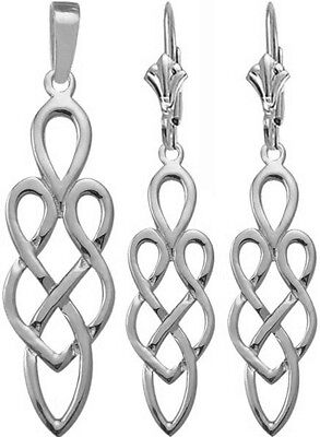 10 Karat White Gold Celtic Earrings & Pendant Set with chain