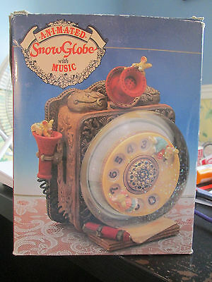Victorian Animated & Musical Snow Globe Old Fashioned Phone 1993