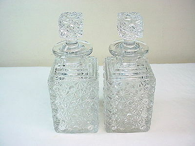 Ornate Antique Crystal Set of Decanters w Fancy Stoppers Pair