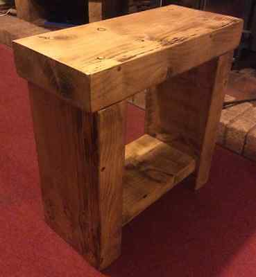 Small Chunky Rustic Pine Solid Wood Bench Side Table Lamp Stand Handmade in UK