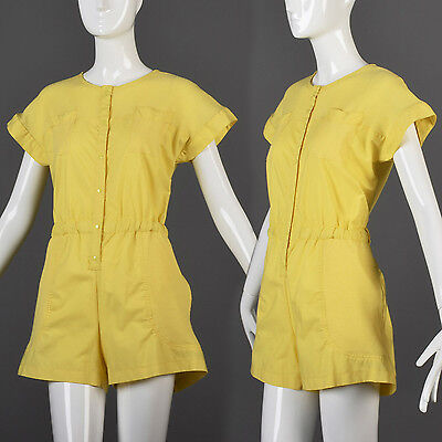L Vintage 1980s 80s Yellow Romper Jumpsuit Short Sleeve Snap Casual Summer Beach