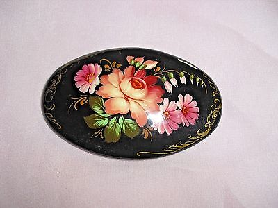 Vintage Russian Black Lacquer Painted Floral Oval Brooch, Signed!