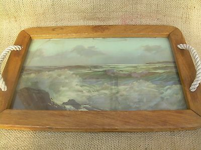 """Vtg Wooden Tray~Maine Seascape Scene Under Glass~19 X 13""""~Rope Handles~Nice"""