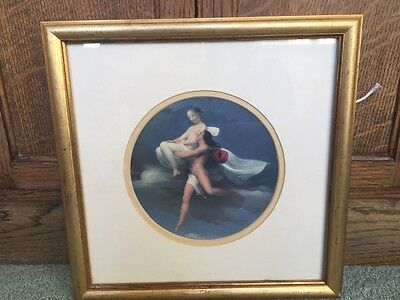 antique gold framed print male female nude, nimph, angel, fairy