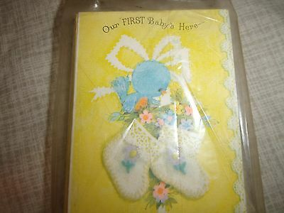 Vintage Hallmark Birth Announcement Cards OUR FIRST BABY'S HERE Bird Flowers