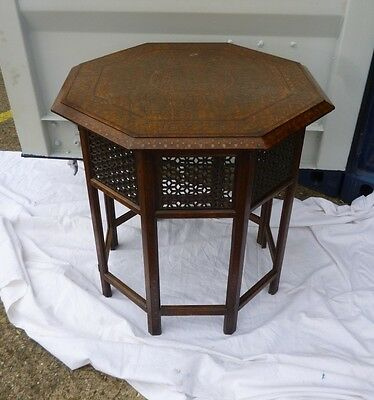 ANTIQUE VINTAGE Anglo Indian OCTAGONAL FOLDING TABLE inlaid with brass & copper