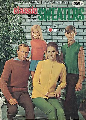 Coats & Clark Classic Sweaters Sizes 2 - 50 vintage 1969 knitting pattern book