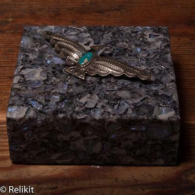 Fred Harvey Era Navajo Silver and Turquoise Stamped Thunderbird Pin/Brooch #17