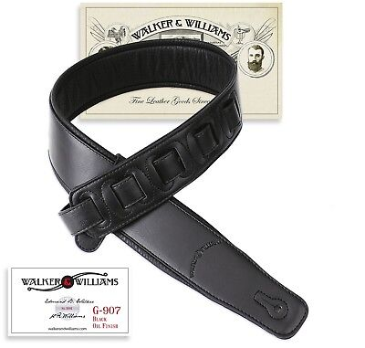 Walker & Williams G-907 Black Padded Guitar Strap with Soft Glove Leather Back