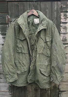 VTG 60s VIETNAM ERA US ARMY M65 SATEEN OG-107 FIELD JACKET INTERCON REG MEDIUM