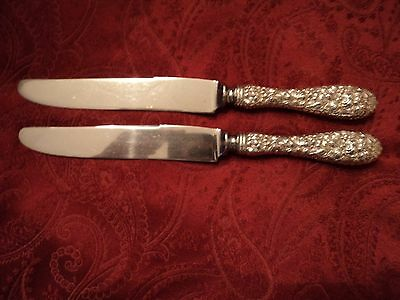 """2-Stieff Rose Sterling Silver French HH Dinner Knives 8 7/8"""" No Monogram"""