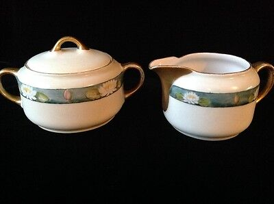 Antique KPM Hand Painted Porcelain Waterlily Sugar Bowl & Creamer Germany