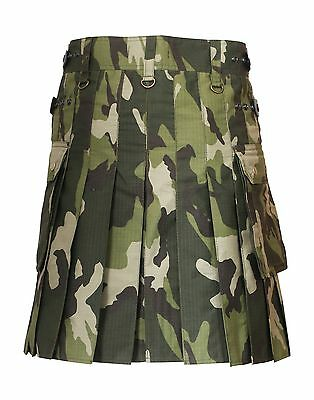 New Scottish Men Camo kilt with Leather Straps best Fashion army Utility Kilts