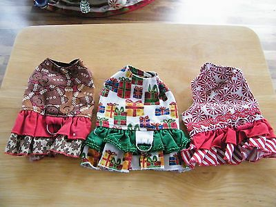 3 Puppy Dog Christmas Dresses X-Small Gingerbread Peppermints Presents