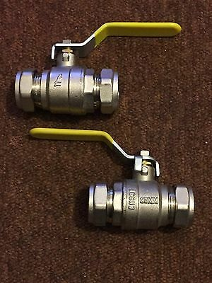 2x 22mm GAS YELLOW LEVER BALL VALVE