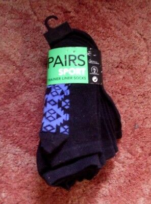 New 5 Pairs Sport Trainer Liner Socks From George Shoe Size 4-8 Eur 37-42