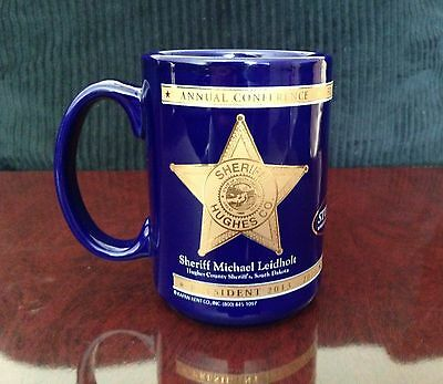 Police - National SHERIFF`s AS. Coffee Mug/Tea Cup Ceramic Royal Blue Gold Trim