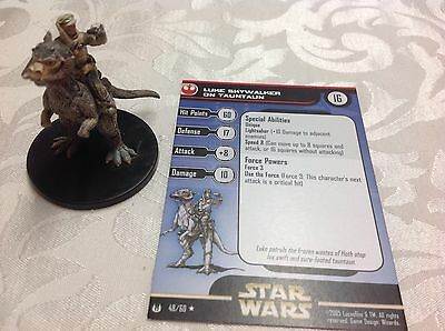 Star Wars Miniature with stat card Luke Skywalker on Tauntaun 48/60