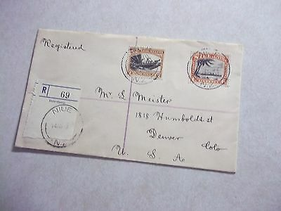 NIUE Cook Islands Stamps On 1936 REGISTERED COVER TO USA -- New Zealand